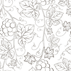 Seamless grape pattern black and white.