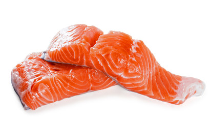Salmon fillet on a white background