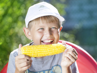 boy with corn
