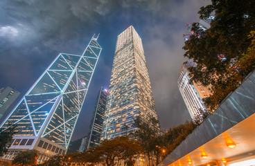 Night view of modern city skyline