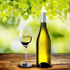 White Wine on Wood Table