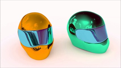 Helm orange & green