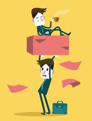 Businessman work hard alone. Exploit partner concept.