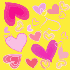 abstract pink heart on yellow background