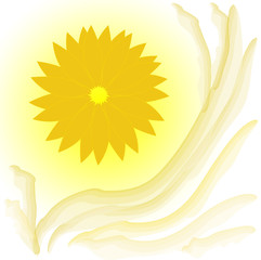 abstract yellow flower on white background