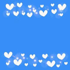 white heart on blue background