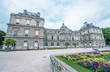 Flowers and buildings of Luxembourg Gardens in Paris