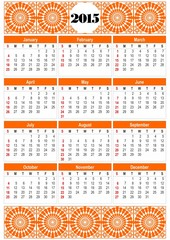 Calendar 2015 in orange design with orange folklore patterns