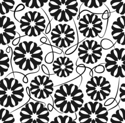 Seamless background with floral patterns in white and black
