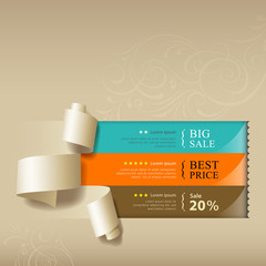 Show colorful paper roll for sales collections design