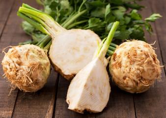 Fresh organic celery, one cut