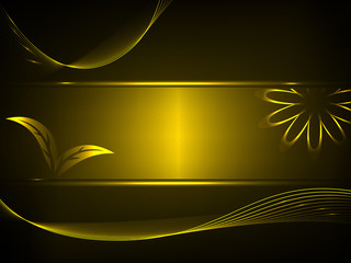 gold black background with floral