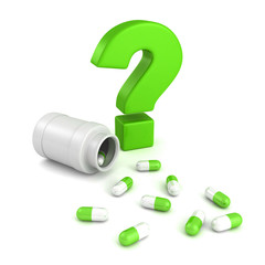 bottle for medical pill tablets with green question mark