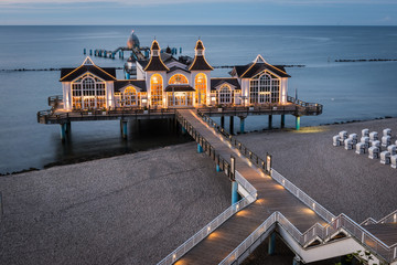 Famous Pier of Sellin, Rügen, Baltic Sea, Mecklenburg-Western P