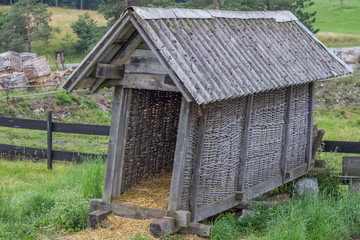 Vintage small barn for hay and straw