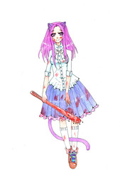 An anime warrior girl with a stick isolated