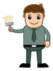 Renovation - Cartoon Man Holding a Paint Brush Vector