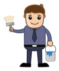 Cartoon Man with Paint Brush - Renovation Concept