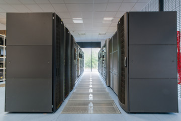 Servers and disk arrays arranged in racks