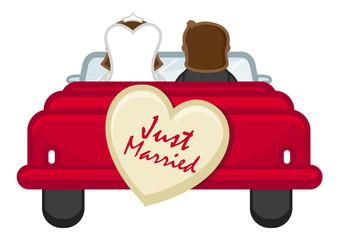 Just Married - Couple Going from Honeymoon - Cartoon Vector