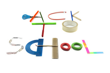 Back to school sign made of accessories