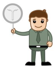 Cartoon Man Showing Two Ways Arrow Sign