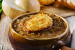 canvas print picture - French onion soup with toast