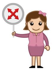 Crossed Arrows - Woman Showing Sign Board