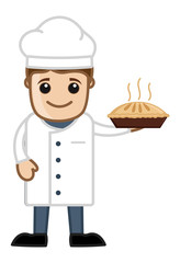 Cartoon Vector Chef Holding Pan Cake