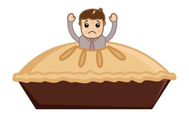 Cartoon Vector Man Stucked in Apple Pie