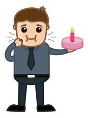 Cartoon Vector Businessman Eating Birthday Cake