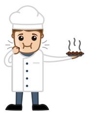 Chef Eating Sweet Dish - Vector Cartoon