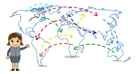 Cartoon Woman Showing Ways and Point on a World Map