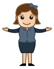 Cartoon Woman Raising Her Hands