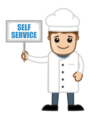 Self Service Board - Holding a Cartoon Chef