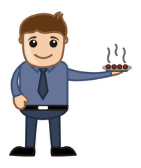 Man Serving Sweet Dish Vector