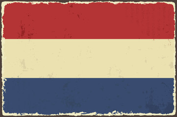 Dutch grunge flag. Vector illustration