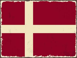 Danish grunge flag. Vector illustration