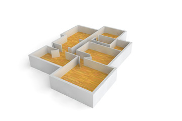 floorplan for a typical house or office building wooden floors