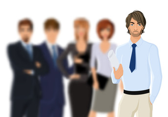 Portrait of young businessman with business team