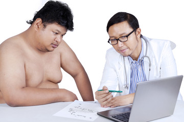 Doctor explaining the checkup result isolated over white