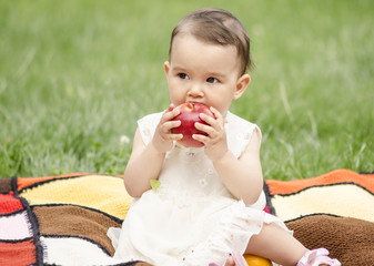 Toddler and the apple