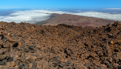 Surface of Teide volcano formed by volcanic rocks