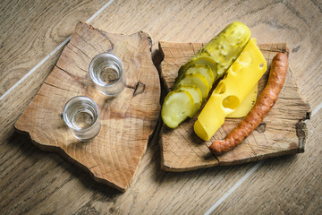 Vodka and pickled cucumber