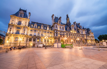 Wonderful view of Hotel de Ville at summer sunset - Paris