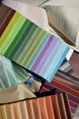 Swatches of fabrics for decoration