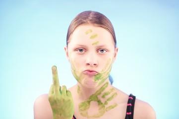 Teen girl badly gesturing