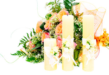 Candle and Flowers. Isolated on White Background