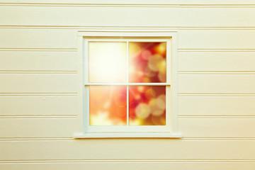 Autumn background with window