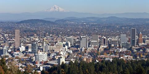 Portland Oregon panorama from Pittock Mansion.